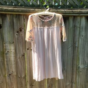 Lapis Boho Dress with Lace and Embroidery Blush
